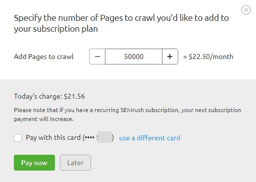 SEMrush addons page crawls