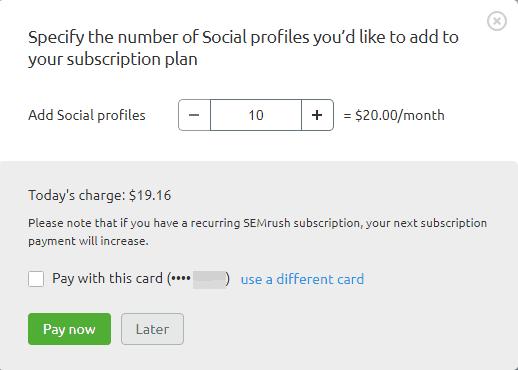 SEMrush addons social profiles