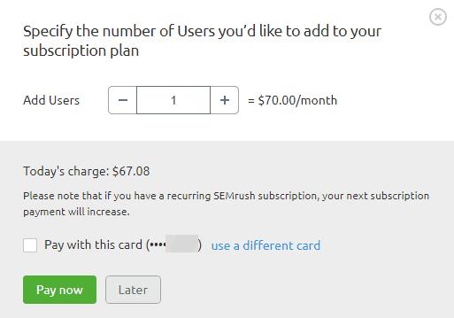 SEMrush addons users