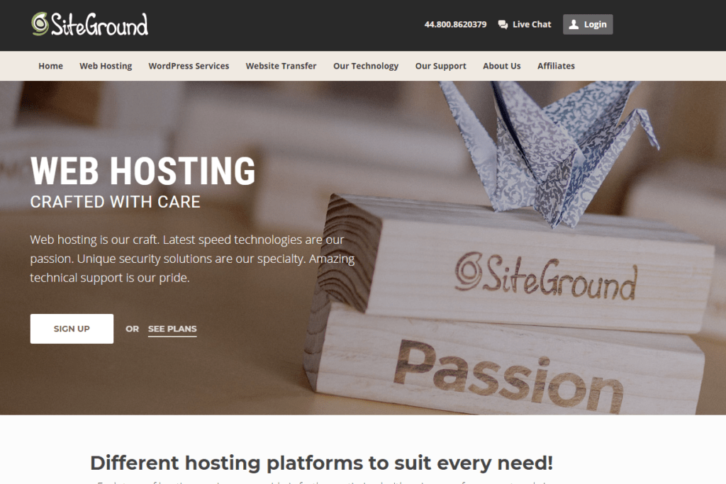 SiteGround UK WordPress SSD Hosting