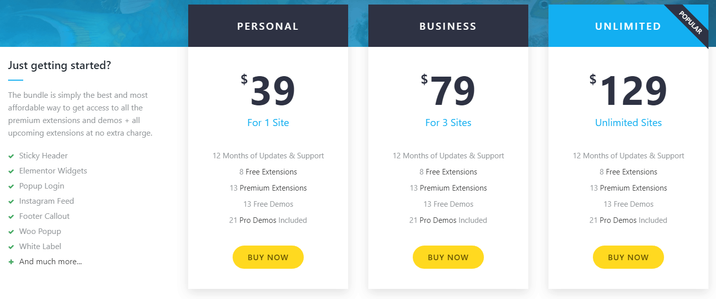 OceanWP - Pricing