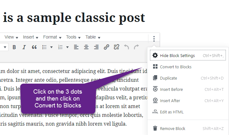 Gutenberg blocks conversion classic