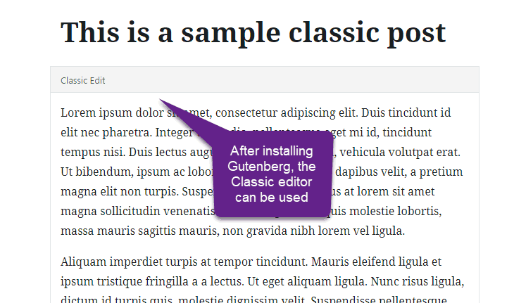 Gutenberg blocks conversion classiceditor