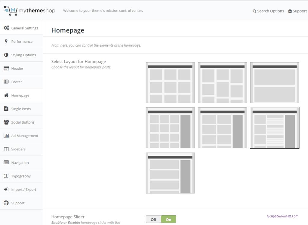 mythemeshop review - settings panel