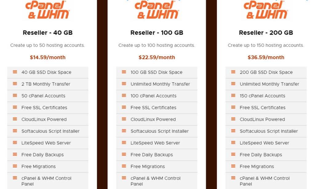 RackNerd Review - Reseller hosting pricing